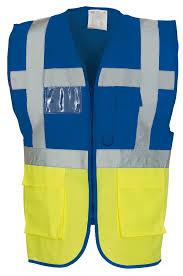 functional executive yk002 royal blue yellow multi functional executive hi vis waistcoat