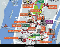 map of new york city with tourist attractions map of nyc tourist attractions major tourist