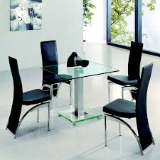 jet 80cm square clear glass dining table with 4 dining chairs a