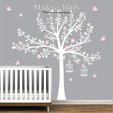 White Tree Wall Decal For Nursery White Tree Decal With Pink Flowers Bird Decals Nursery Wall