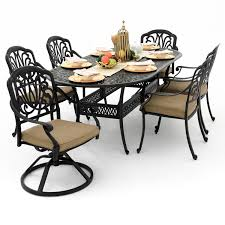 rosedown 7 piece cast aluminum patio dining set with 2 swivel