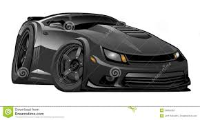 cartoon bugatti classic american black muscle car cartoon illustration stock