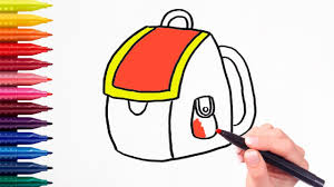 how to draw backpack u0026 coloring pages for kids learning
