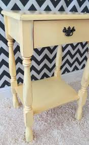 end table makeover in yellow paint primer furniture wax and valspar