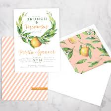 mimosa brunch invitations watercolor orange floral bridal shower brunch invitation brunch