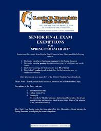 seniors final exam exemptions brandeis high