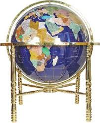 6 inch copper gold rotating globe clock gemstone globes