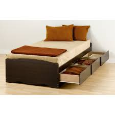 espresso wooden single bed without headboard using brown cream
