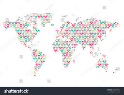 beautiful world map pattern wall sticker stock vector 326472566 beautiful world map with pattern wall sticker retro colors easy to change colors