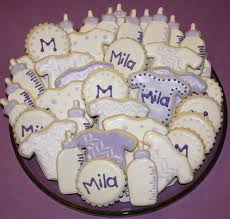 mel u0027s sweet treats baby cookies for a purple and white baby shower