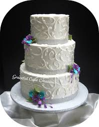 elegant white wedding cake with crystal ribbon accented wi u2026 flickr