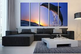 5 piece canvas art prints ocean large canvas dolphin group