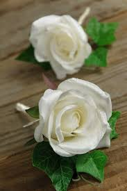 silk roses boutonnieres white set of 2