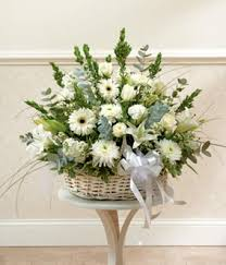 white floral arrangements white floral sympathy arrangement in basket at from you flowers