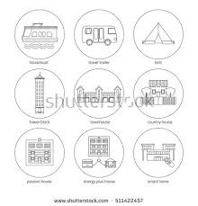 Types Of House Designs Icons Set Houses Different Types Homes Stock Vector 511422457
