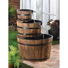 Home Lawn Decoration Amazon Com Rustic Three Tier Apple Barrel Outdoor Water Fountain