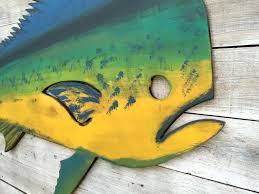 dolphin mahi wood fish fisherman gift outdoor fish decor wall art
