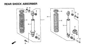 1996 honda pacific coast 800 pc800 rear shock absorber parts