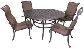 Sling Patio Dining Set Gather Craft Castle Rock 5 Sling Outdoor Dining Set