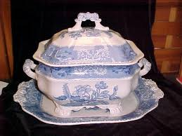 vintage copeland spode china blue camilla soup tureen underplate
