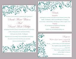teal wedding invitations diy wedding invitation template set editable word file instant