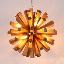 Wooden Light Fixtures Led Firework Explosion Wooden Pendant Light Hanging Fixtures