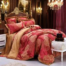 Burgundy Duvet Sets Rose Gold And Burgundy Red Peony Flower Pattern Noble Excellence