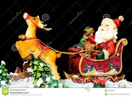 Ceramic Reindeer Christmas Decorations by Father Christmas In His Sleigh Stock Photo Image 46668426