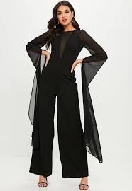 black jumpsuit sleeve black mesh sleeve jumpsuit missguided