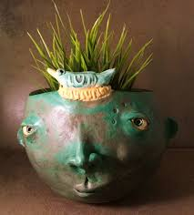 face planters face planter antique green with bird