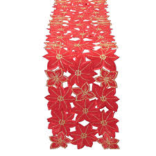 Holiday Table Runners by Decorating Xia Home Fashions Festive Poinsettia Embroidered