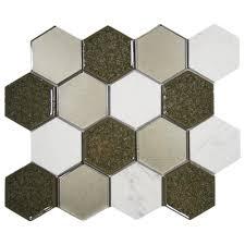 sienna blend hexagon tile backsplash subway tile outlet