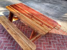 Round Redwood Picnic Table by Redwood Picnic Table With 2x8 And 2x6 Heavy Duty Construction