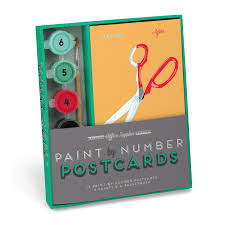 knock knock office supplies paint by number postcards kit