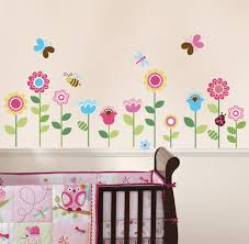 decorating chic design of baby bedroom with flower painting in the