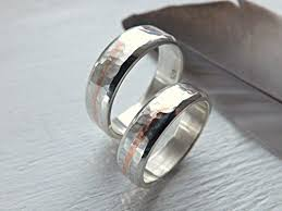 rings silver bands images Silver wedding band set hammered silver ring set two tone rings jpg