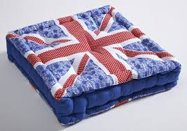 Union Jack Dining Chair Seat Pads Boxed Cushions Cotton Bolsters Union Jack Outdoor Seat