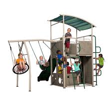 castle grey metal swing set backyard discovery
