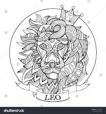 lion zodiac sign coloring book vector stock vector 591989048