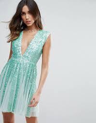 asos asos salon mint sequin paneled fit and flare mini dress