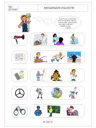 resme uygun mesleği bul çalışma sayfaları