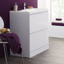 narrow bathroom floor cabinet with freestanding and built in