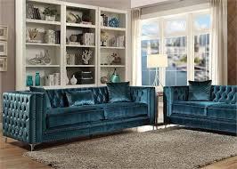 velvet sofa set 52790 acme gillian dark teal velvet sofa set collection