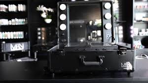 rolling makeup case with lighted mirror makeup artist network black studio makeup case with led lights