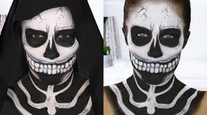 easy halloween makeup haunted skeleton skull nikkia joy youtube