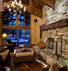 rustic interior design with fau ceiling beams and black chandelier