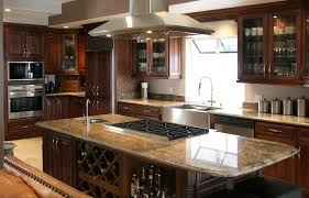 gray marble countertop island with open shelves black side full size kitchen brown island with wine rack dark cabinets chrome range