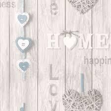 light neutral blue shabby chic hearts plank wood fine decor