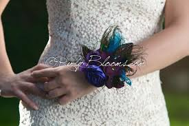 teal corsage purple teal peacock corsage