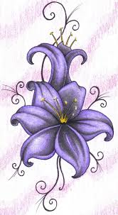lily flower tattoo design in grey and black shading